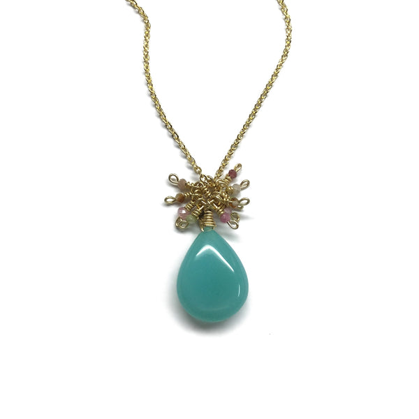 chalcedony green teardrop tiny tourmaline cluster necklace
