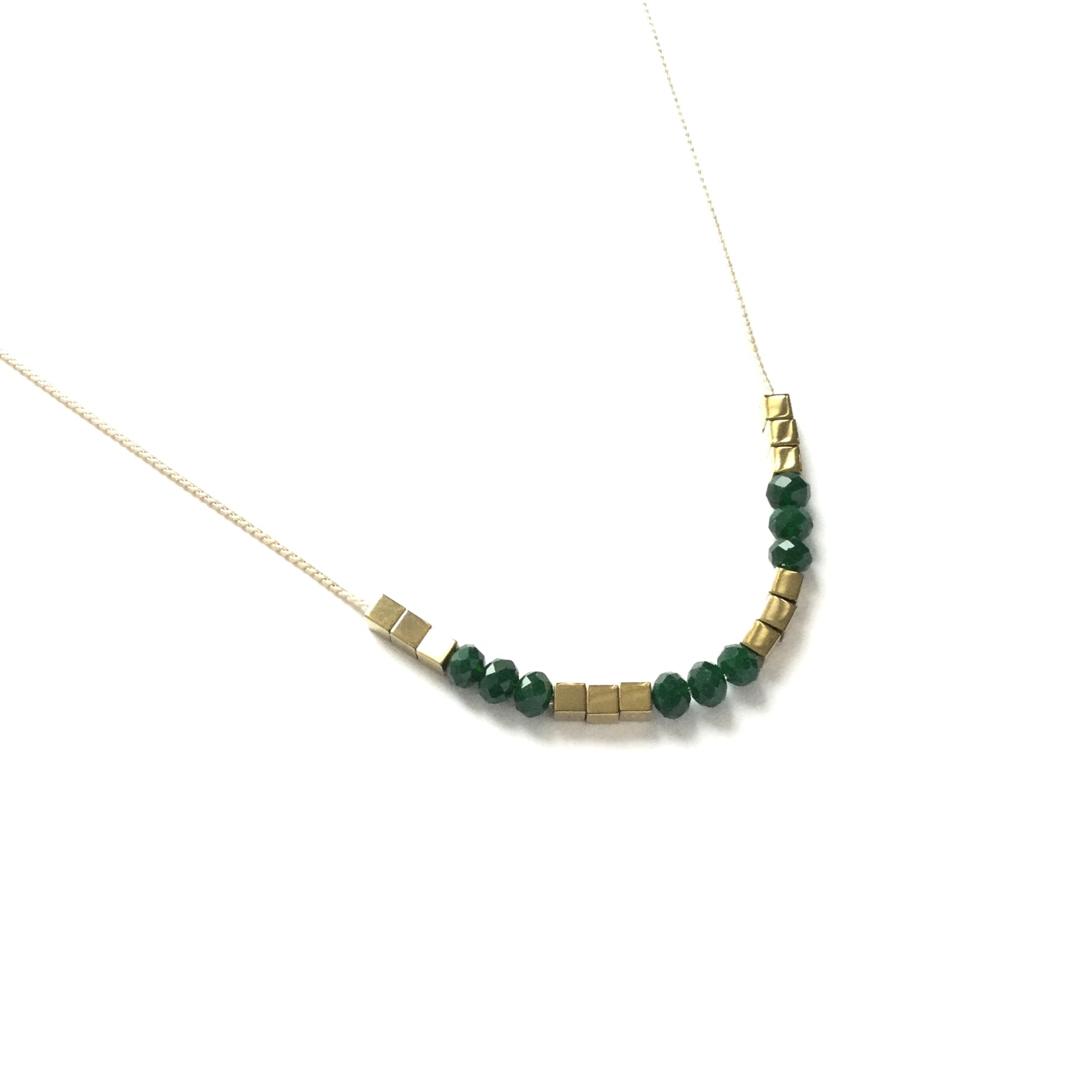 Gold square hematite beads spacers with faceted emerald green glass bead necklace