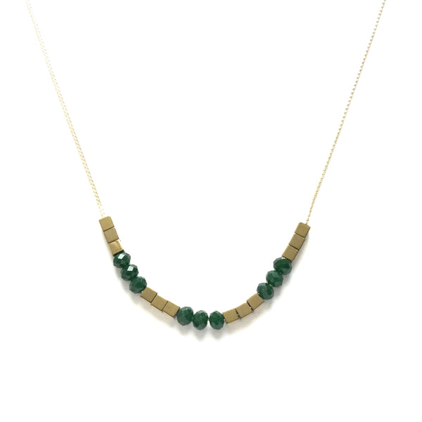 Gold Hematite and Emerald Green Glass Necklace