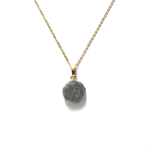 Gray Druzy Necklace