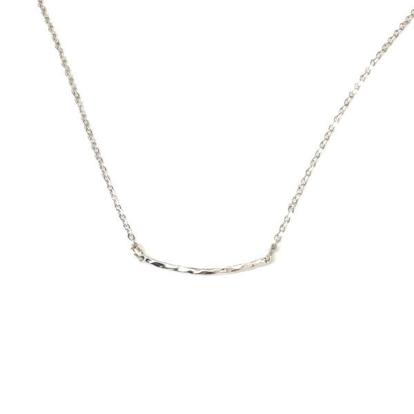 tiny silver plated curved hammered bar necklace