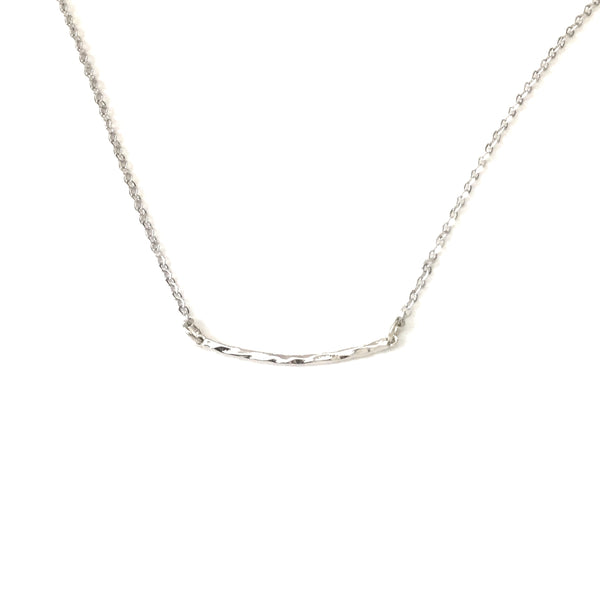 Tiny Silver Curved Hammered Bar Necklace