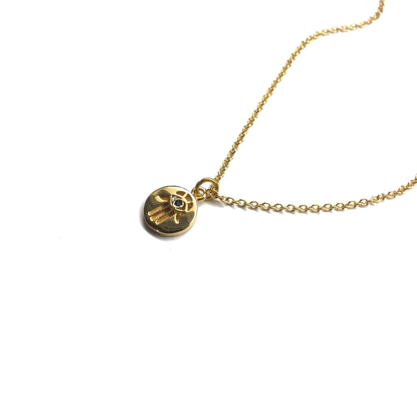 Gold plated evil eye hamsa coin pendant with cubic zirconia necklace
