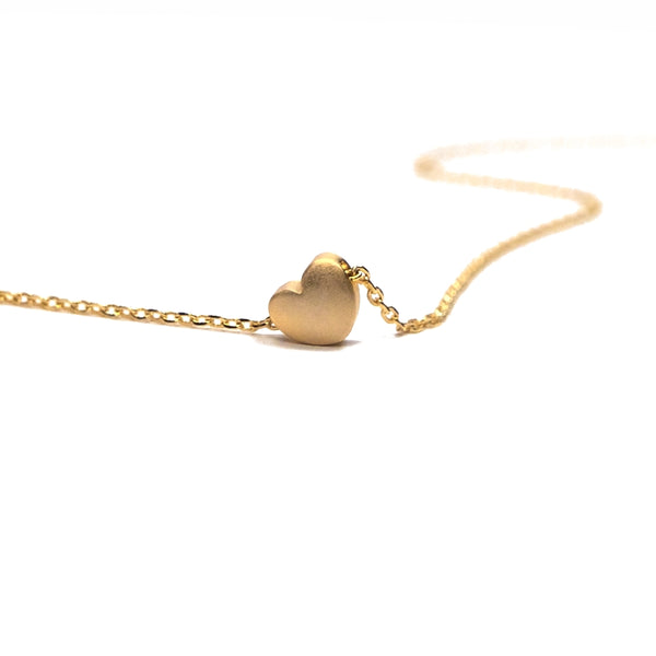 Gold plated matte heart necklace