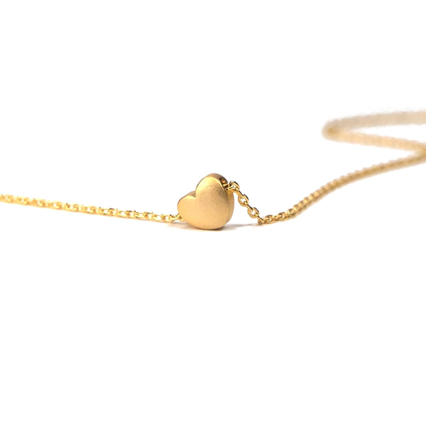 Tiny gold plated matte heart necklace