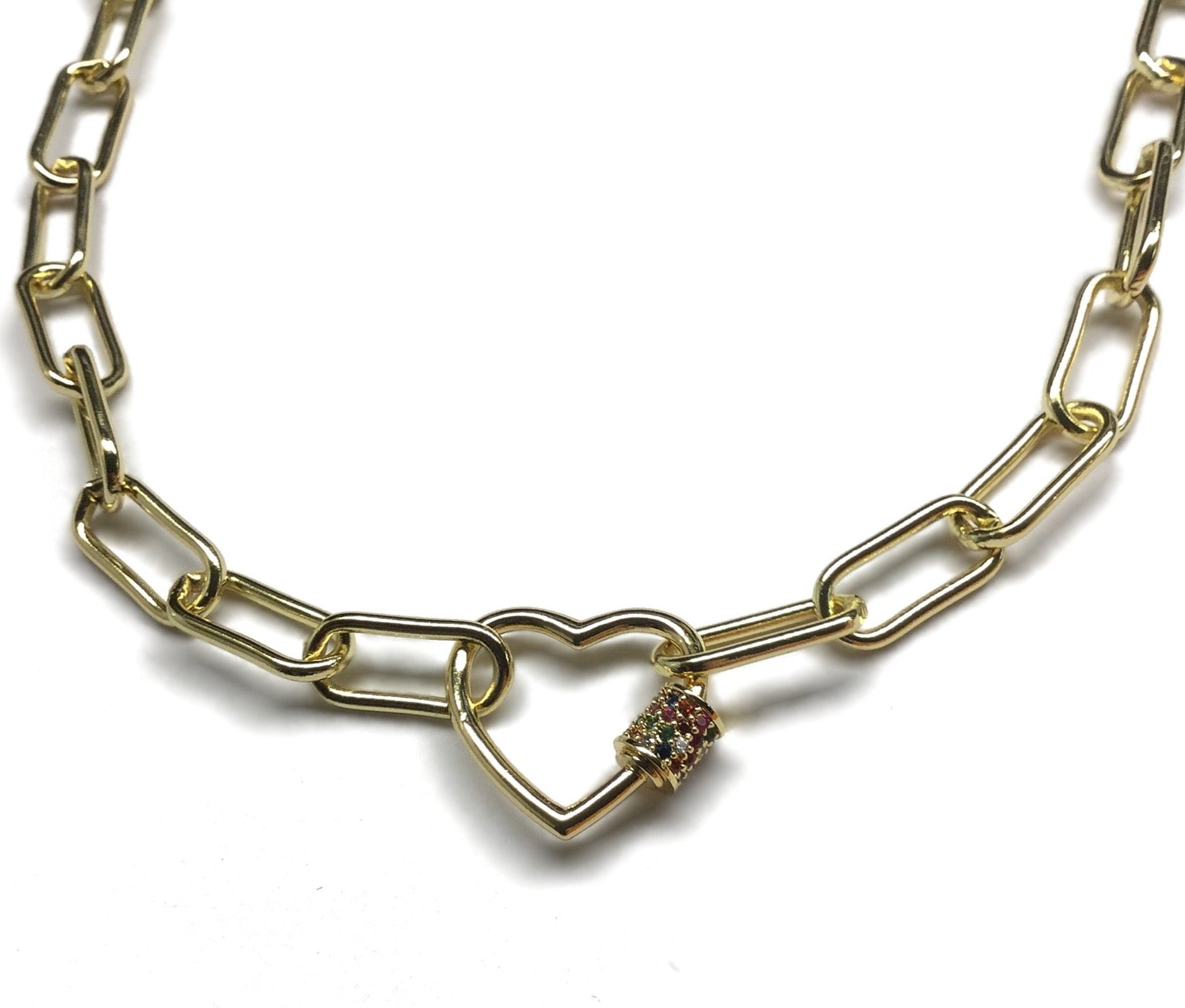 gold paperclip heart carabiner necklace