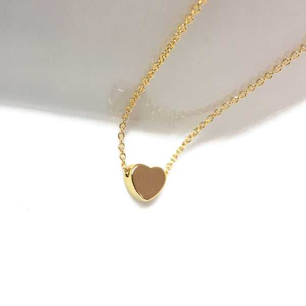 gold plated shiny heart necklace