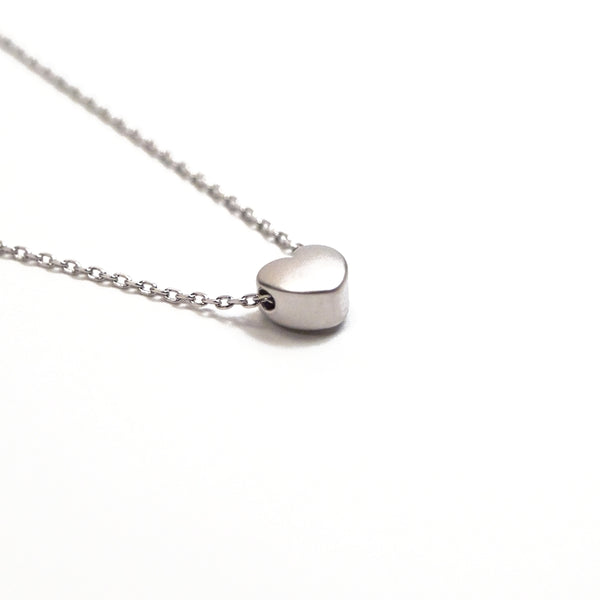 silver layering heart necklace