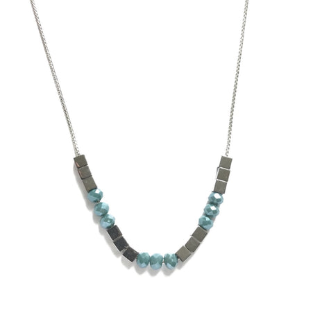 silver blue boho necklace