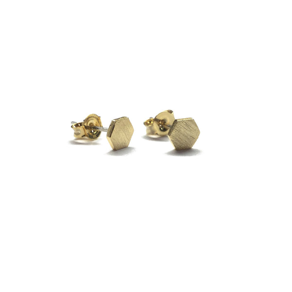Small Gold plated matte over brass geometric hexagon stud earrings with sterling silver posts