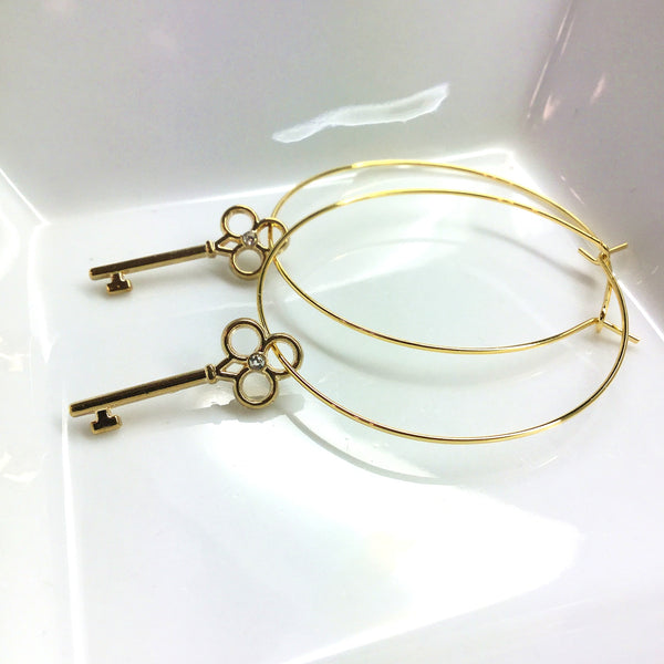 cubic zirconia key hoop earrings
