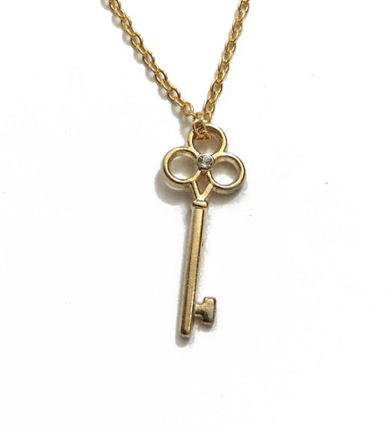 tiny gold key necklace