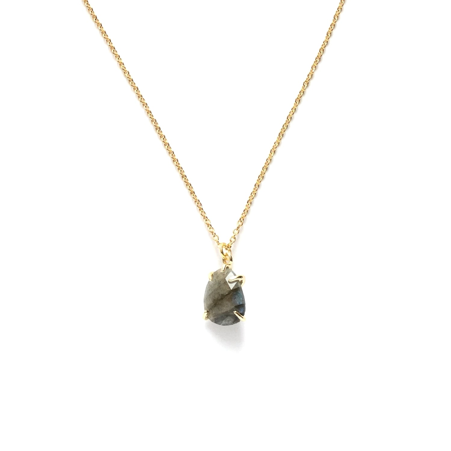Teardrop labradorite gemstone in a gold plated prong setting necklace