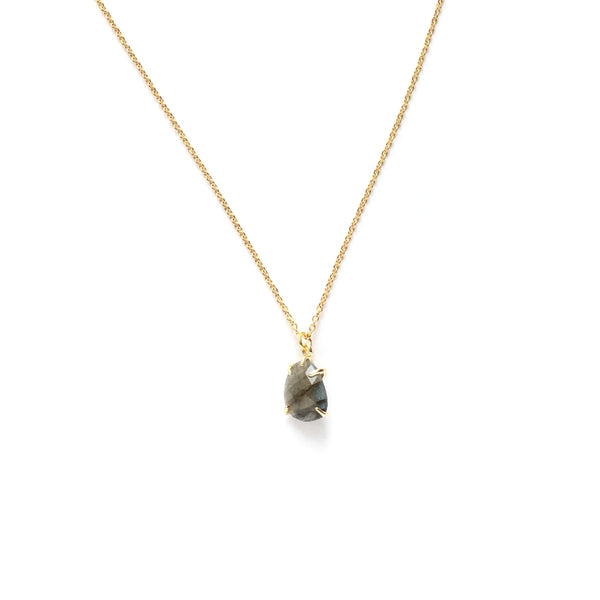Teardrop labradorite semi precious stone in a gold plated prong setting necklace
