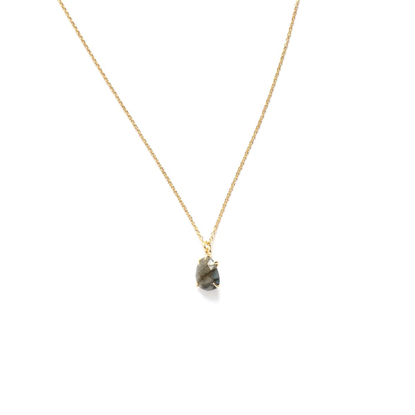 Teardrop faceted labradorite gemstone in a gold plated prong setting necklace