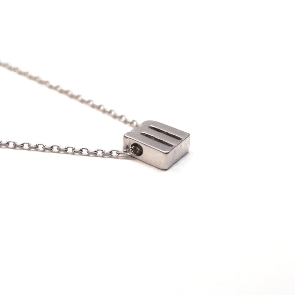 Tiny Silver Matte Initial Necklace