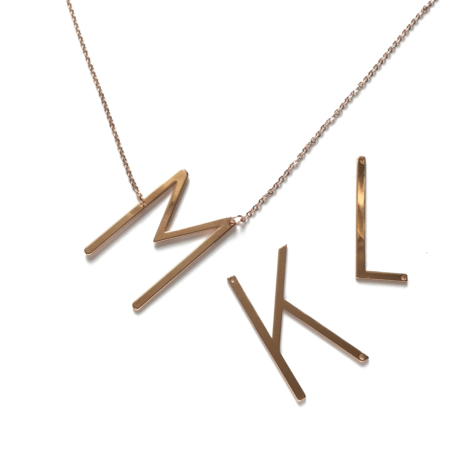 big large letter rose gold necklace