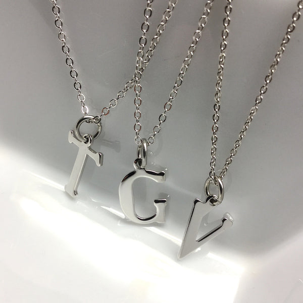 Stainless Steel Initial Letter Necklace