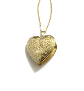 Gold Plated Heart and Floral Locket Necklace