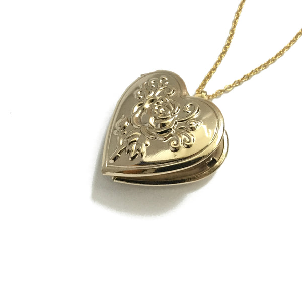Gold plated rose flower embossed locket necklace