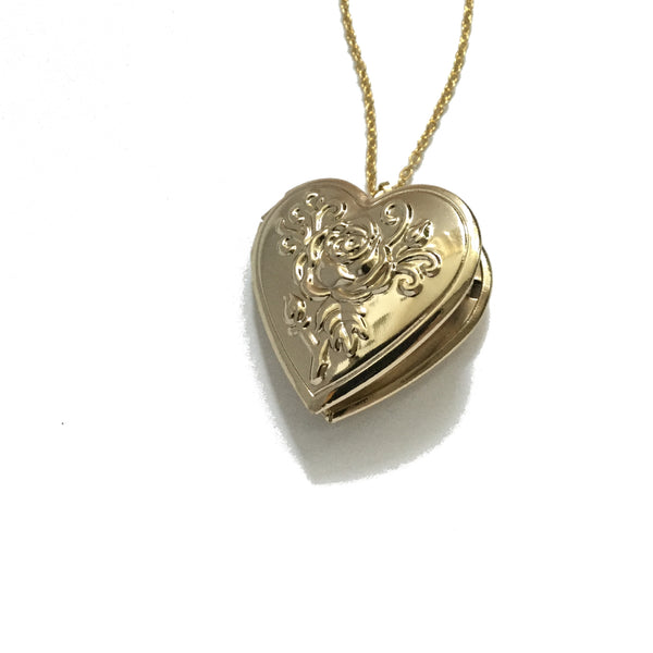 Rose Flower Embossed Heart Locket Necklace