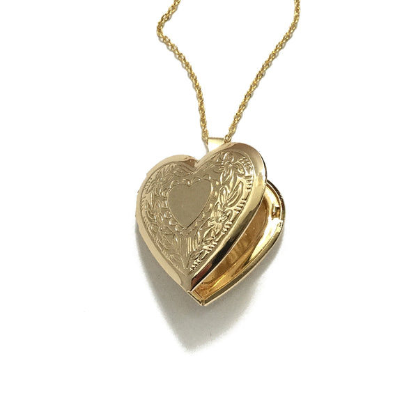 Gold Floral Heart Locket Necklace