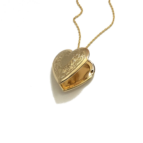 Gold plated floral heart locket necklace