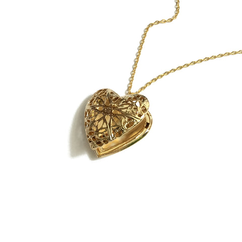 gold plated heart filigree locket