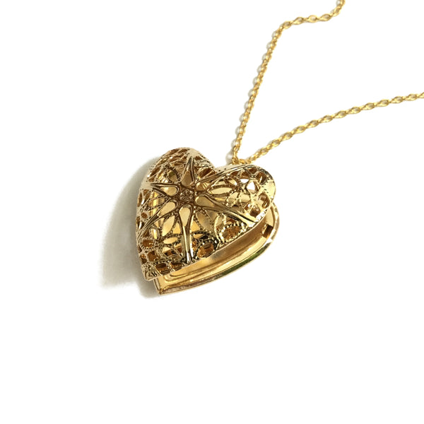 gold plated heart shaped filigree locket