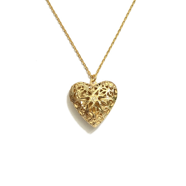 Gold Plated Filigree Heart Locket Necklace