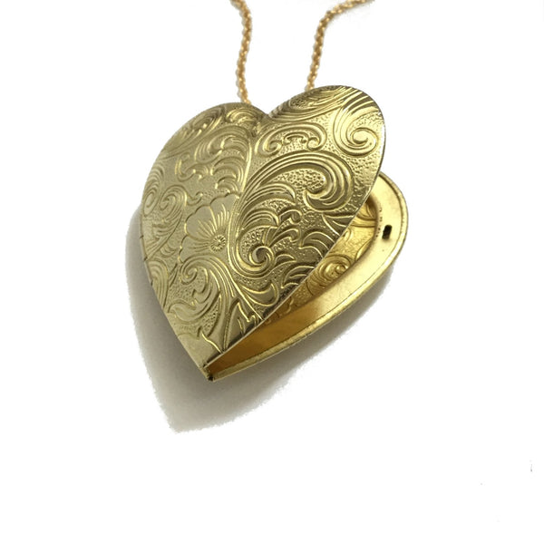 Large golden brass floral heart shaped locket necklace