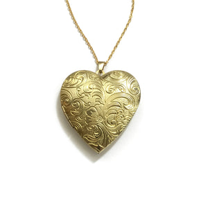 Golden brass floral heart shaped locket necklace