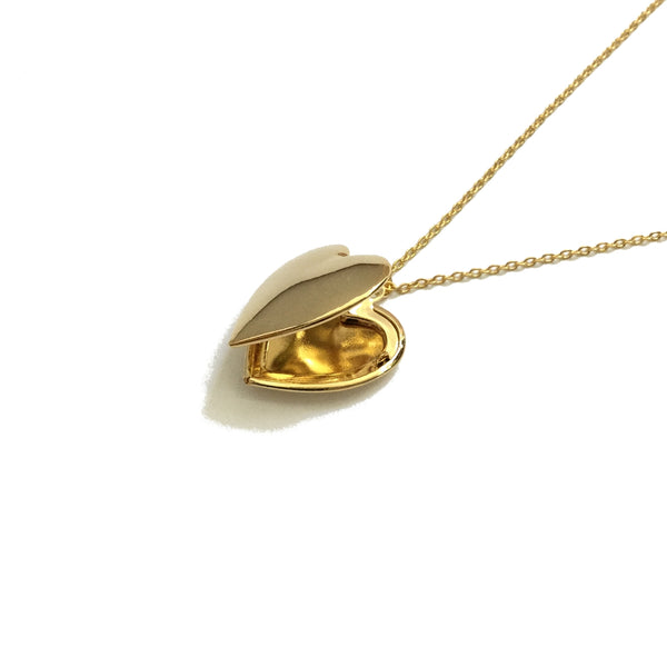 Plain and polished gold plated heart shaped locket necklace