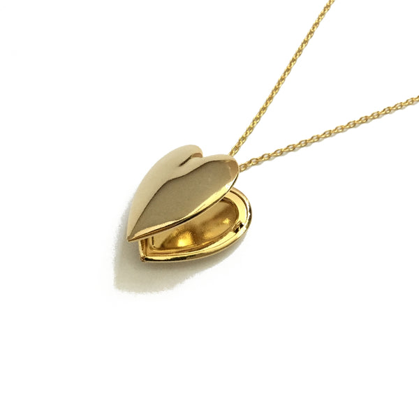 Gold Plated Plain Heart Locket Necklace
