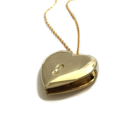 keyhole heart locket necklace