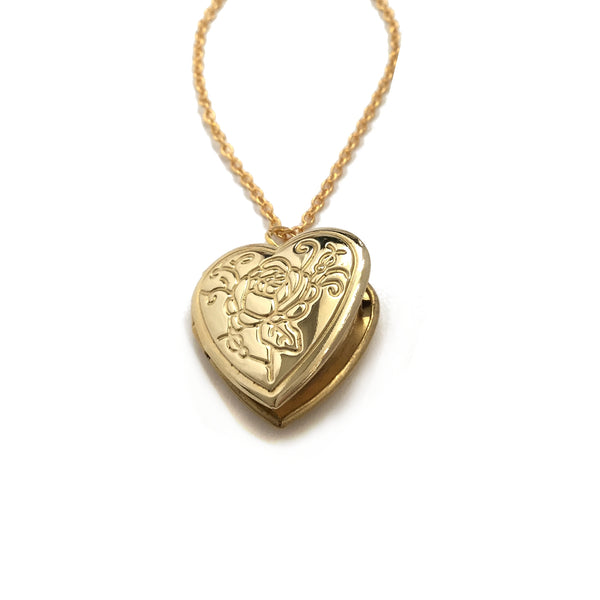 rose flower heart locket necklace