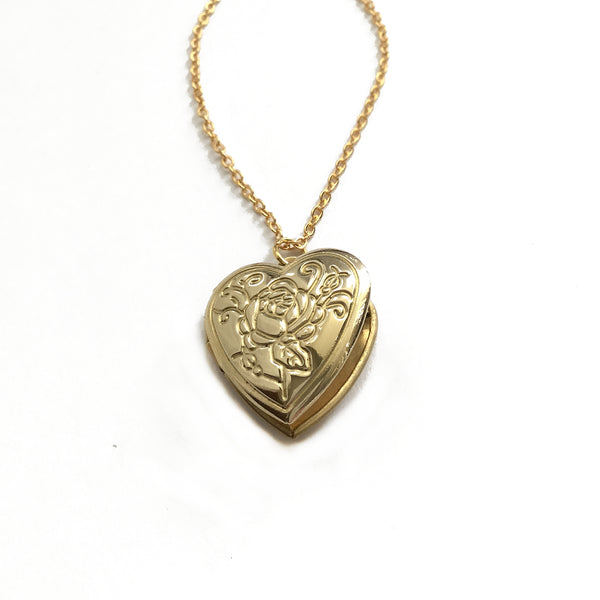 keepsake heart locket rose design