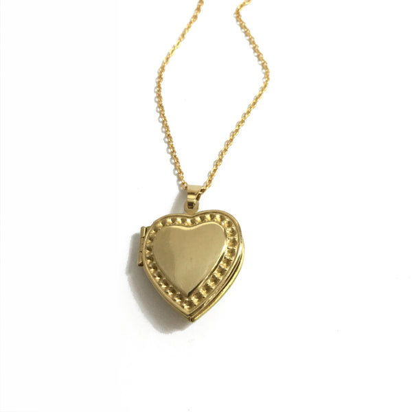 Golden brass heart locket necklace