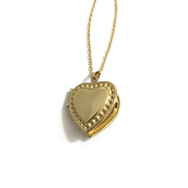 Gold Plated Scalloped Edge Heart Locket