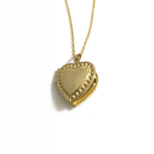 Golden brass heart shaped locket necklace