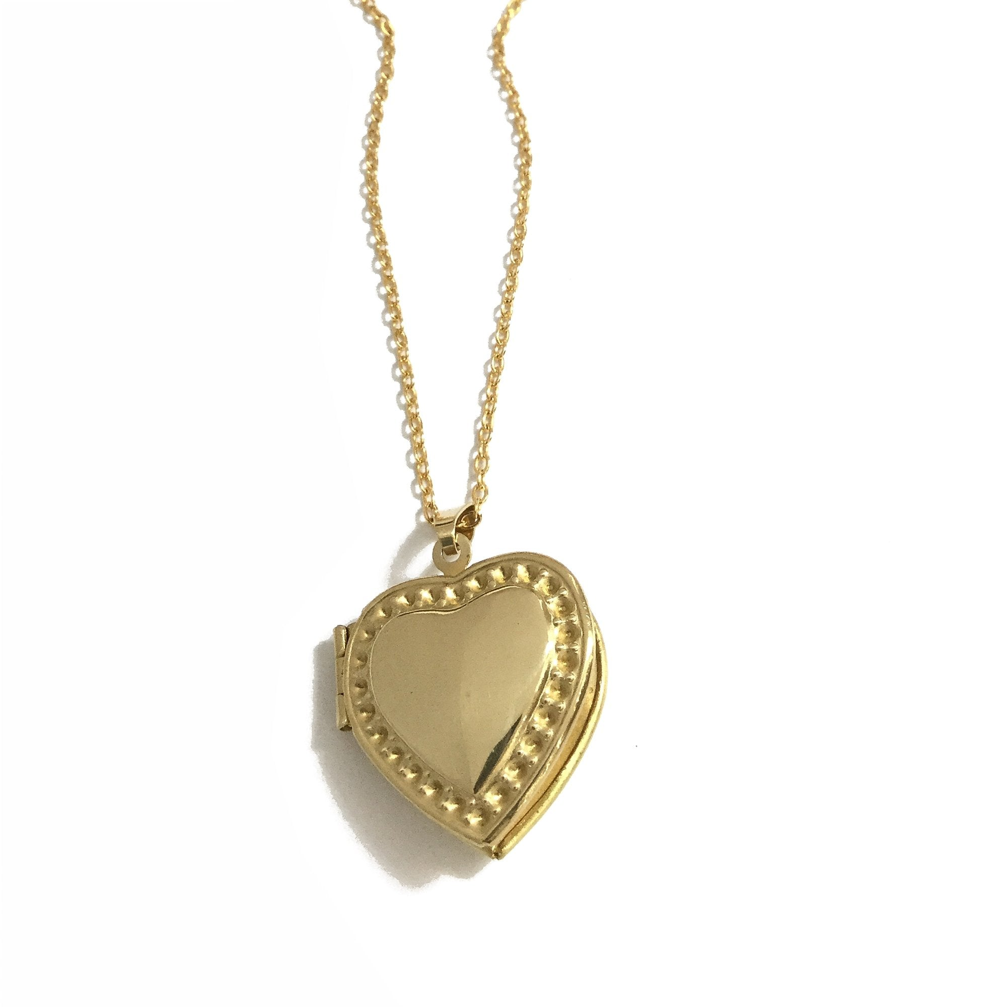 Golden brass keepsake heart locket necklace