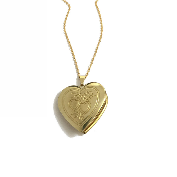 Gold plated heart locket with floral heart design necklace