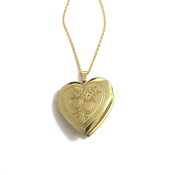 Golden Heart Locket Necklace