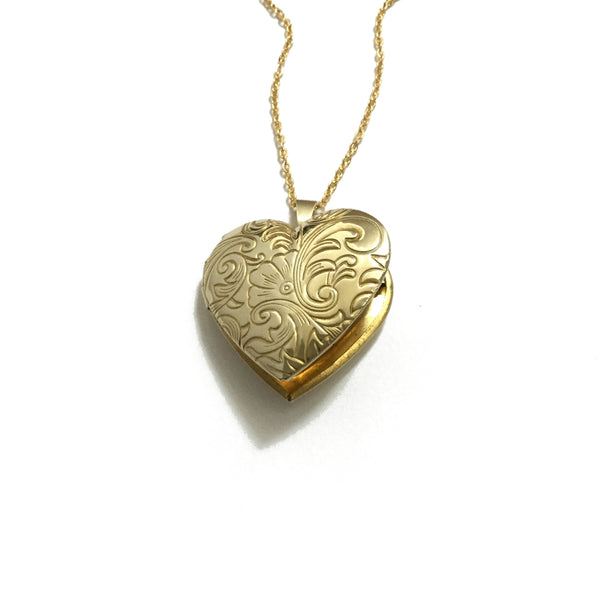 Floral heart Gold Plated Locket Necklace