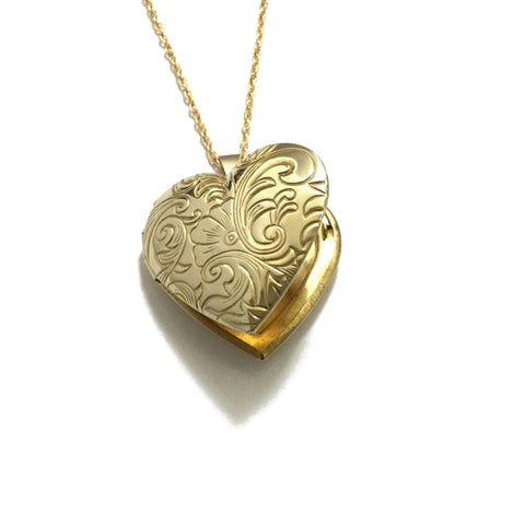 Gold plated floral heart locket