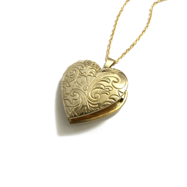 floral gold heart locket