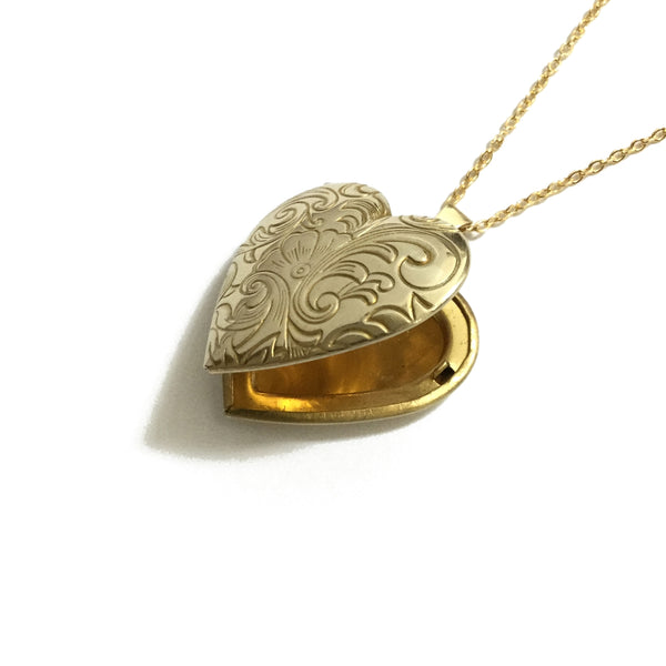 Gold plated over brass heart floral locket necklace