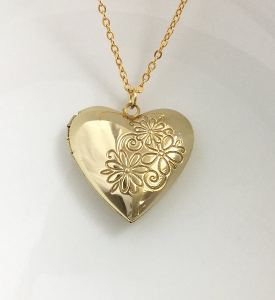 gold heart floral locket necklace