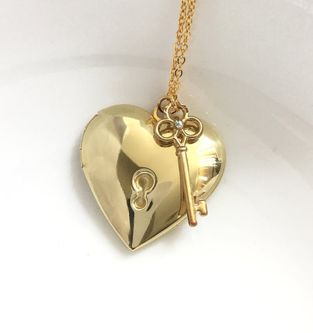 heart locket keyhole and key necklace