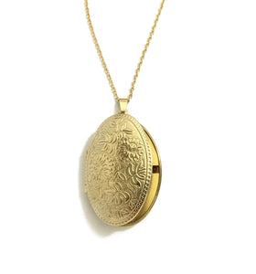 gold oval floral locket